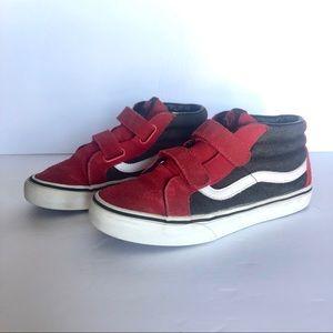 Vans Sk8 Mid Red Black Velcro Kids Shoes 4.5